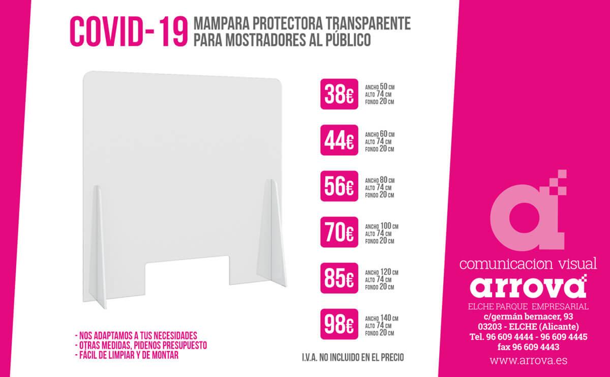 Mampara protectora transparente para mostradores al público